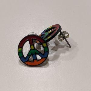 Rainbow peace sign earrings